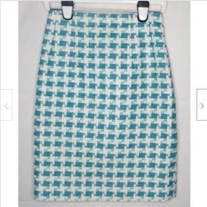 Etcetera Turquoise Cotton Linen Pencil Skirt 4